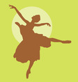 dancing ballerina silhouette light brown on green vector image