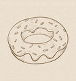 donut hand drawn sketch on beige background vector image vector image