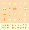 Entertainment color icons on orange background vector image vector image