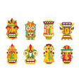 ethnic mask set tribal indian or african colorful vector image vector image