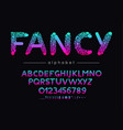 fancy font and alphabet type with colorful vector image