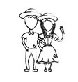 figure cute brazilian couple with hat and typical vector image vector image