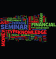 financial freedom seminar text background word vector image