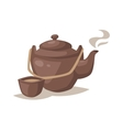 gray china cartoon teapot and cup with hot vector image