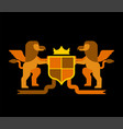 griffin and shield heraldic symbol sign animal vector image vector image
