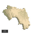 guinea map - 3d digital high-altitude topographic vector image vector image
