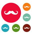 handlebar mustache icons circle set vector image