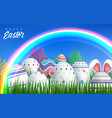 happy easter background with realistic easter vector image vector image