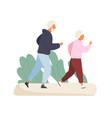 happy elderly couple running at summer park vector image