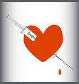heart pierced with a syringe obsession love vector image vector image