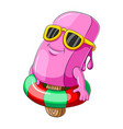 ice cream pink with inflatable swimming pool float vector image