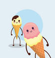 kawaii ice cream design vector image