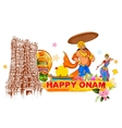 King Mahabali in Onam background showing culture vector image vector image