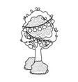 line tree with branch leaves and bulbs hanging vector image vector image