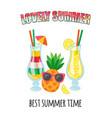 lovely summer best time cocktail and lemonade vector image vector image