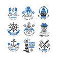 marine logo set design element for nautical vector image vector image
