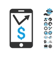 Mobile Sales Report Flat Icon With Tools vector image
