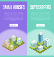 modern downtown and small town quarter flyers vector image vector image