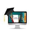 online education study in school using vector image