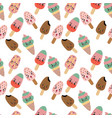 pattern with kawaii ice cream waffle cone vector image vector image