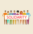 people holding blank banner solidarity cohesion vector image vector image