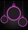 pink sequin frame star sky christmas ball vector image