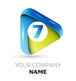 realistic number seven logo in colorful triangle vector image vector image