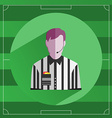 Referee in striped shirt icon vector image