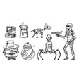 robots and technology evolution stages vector image