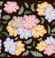 seamless flower pattern on dark background vector image