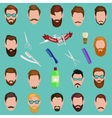 set men cartoon hairstyles with beards and vector image vector image