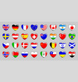 set of 32 flags of different countries in the vector image