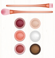 Set of colored blushers and brushes on white vector image vector image