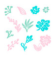 set of isolated flat floral elements on vector image vector image