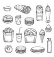 sketch isolated fast food icons vector image