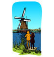 smock mill vector image