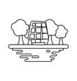 solar panel on ground cartoon vector image