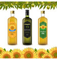 sunflowers and olive oils bottle labels with vector image vector image