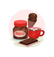 sweet food products cup of cocoa with vector image vector image