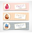 Sweetshop cupcakes banners set vector image vector image