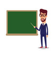 the teacher in the classroom near the blackboard vector image vector image