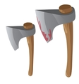 Two retro bloody axe with wood handles vector image