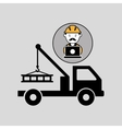 under construction laptop worker tow car vector image vector image