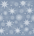 winter seamless pattern with white snowflakes vector image