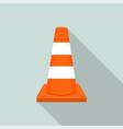work orange road cone icon flat style vector image vector image