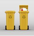 yellow recycle bins vector image vector image