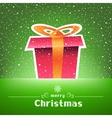 Christmas gift green card with snow around vector image