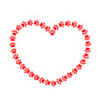 red heart paws vector image