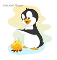 Funny and cute cold little penguinmake a fire vector image