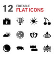 12 bright icons vector image vector image